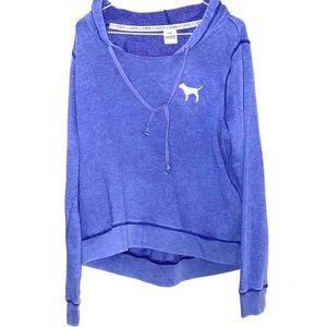 LOVE PINK dog purple hoodie sz L sweatshirt